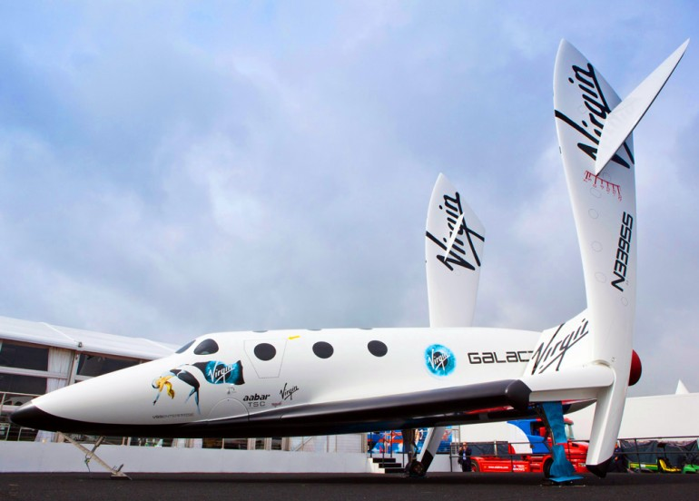 Shots of  the replica of Space Ship II at the Virgin Galactic stand at Farnborough 2012
